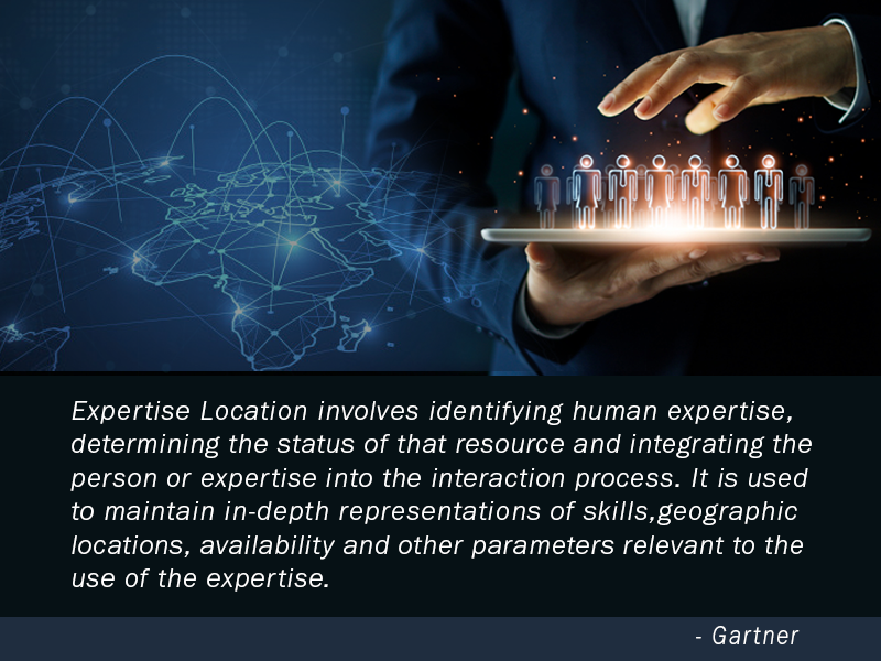 Expertise Location involves identifying human expertise, determining the status of that resource and integrating the person or expertise into the interaction process. It is used to maintain in-depth representations of skills, geographic locations, availability and other parameters relevant to the use of the expertise.