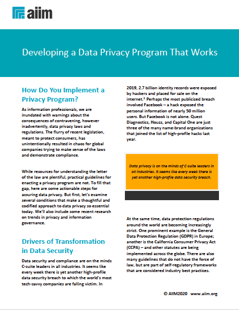Developing a Data Privacy Program That Works Cover