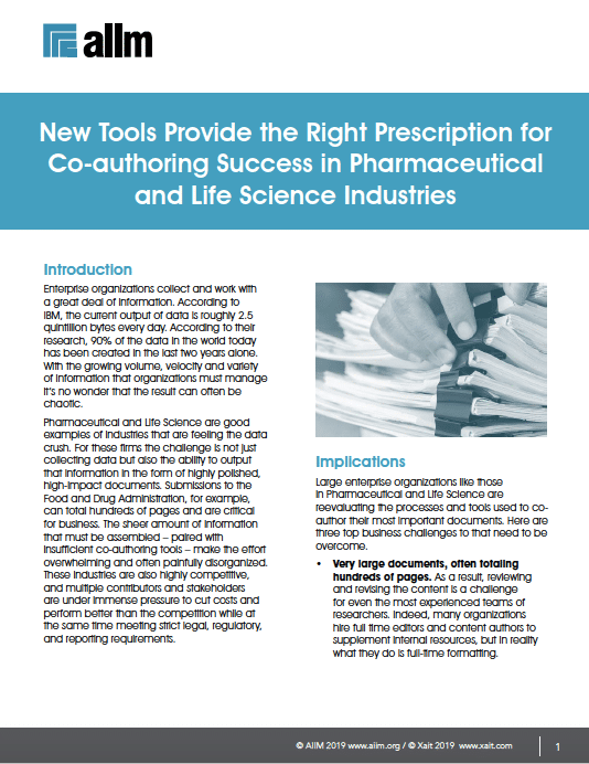 New Tools Provide the Right Prescription for Co-authoring Success in Pharmaceutical and Life Science Industries Cover