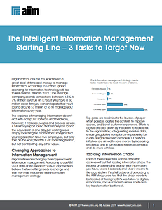 The Intelligent Information Management Starting Line - 3 Tasks to Target Now Cover