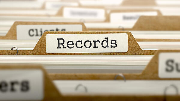 Records Concept. Word on Folder Register of Card Index. Selective Focus