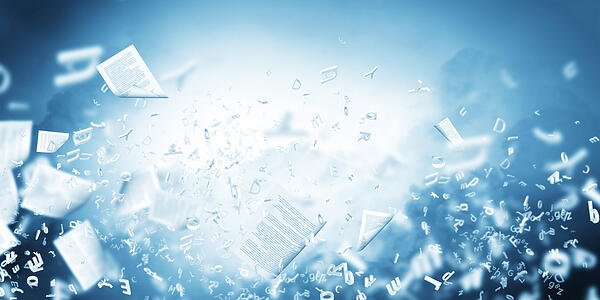 Background conceptual image with papers flying in air