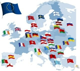 bigstock-European-country-flags-and-map-22592804